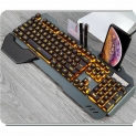 Gaming Mechanical Wired Ergonomic Keyboard With RGB Backlight Phone Holder